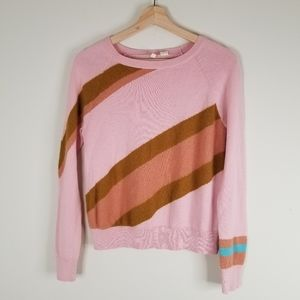 Anthropologie Moth Pink Striped Sweater XS